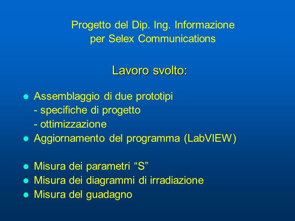 Progetto del Dip. Ing. Informazione per Selex Communications Assemblaggio di due prototipi - specifiche di progetto - ottimizzazione Aggiornamento del