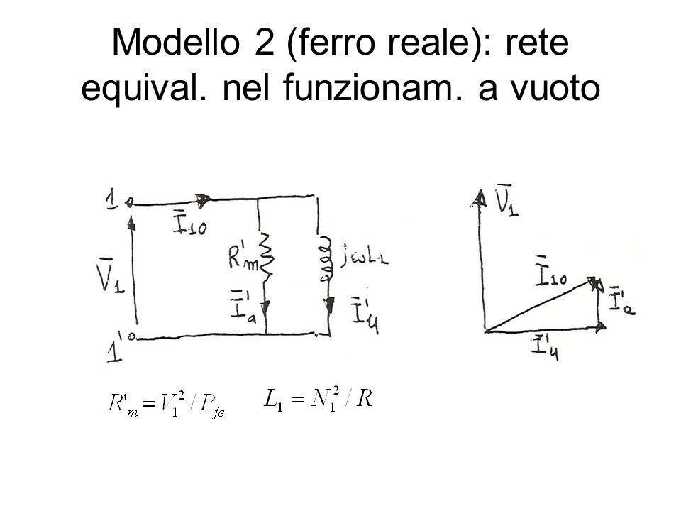 Modello 2 (ferro reale): rete equival. nel funzionam. a vuoto