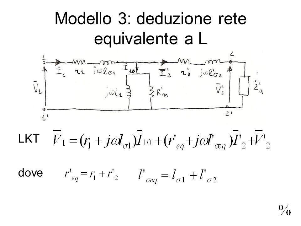 Modello 3: deduzione rete equivalente a L LKT dove