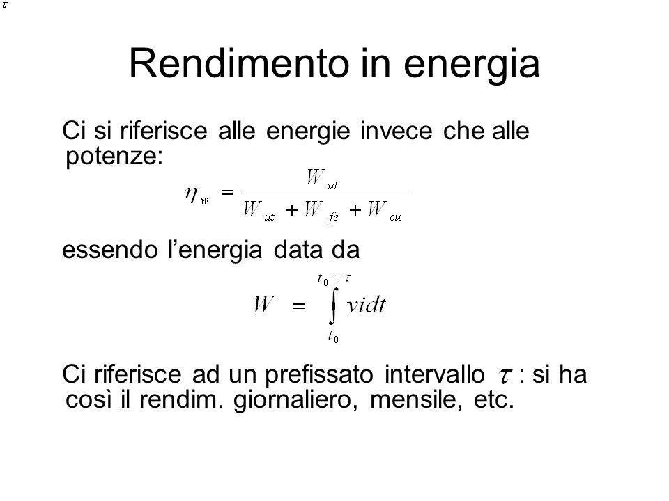 Rendimento in energia Ci si riferisce alle energie invece che alle potenze: essendo lenergia data da Ci riferisce ad un prefissato intervallo : si ha così il rendim.