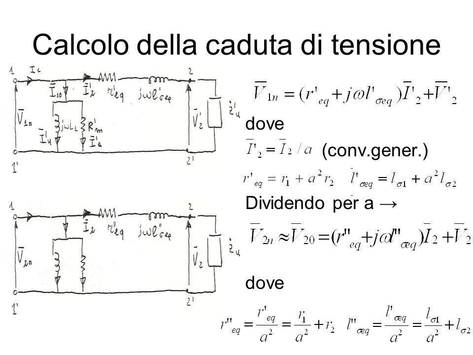 Calcolo della caduta di tensione dove (conv.gener.) Dividendo per a dove