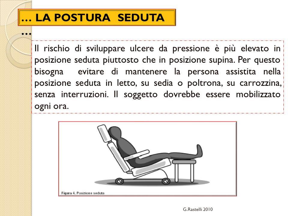 G.Rastelli 2010 … LA POSTURA SEDUTA … Il rischio di sviluppare ulcere da pressione è più elevato in posizione seduta piuttosto che in posizione supina