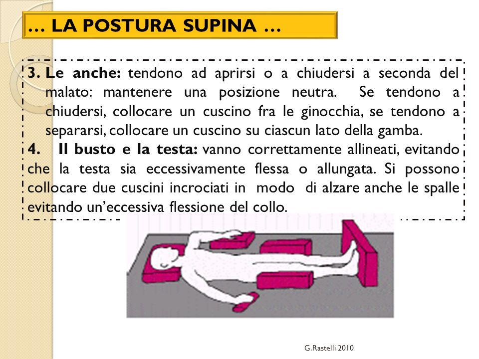 … LA POSTURA SUPINA … 3.Le anche: tendono ad aprirsi o a chiudersi a seconda del malato: mantenere una posizione neutra. Se tendono a chiudersi, collo
