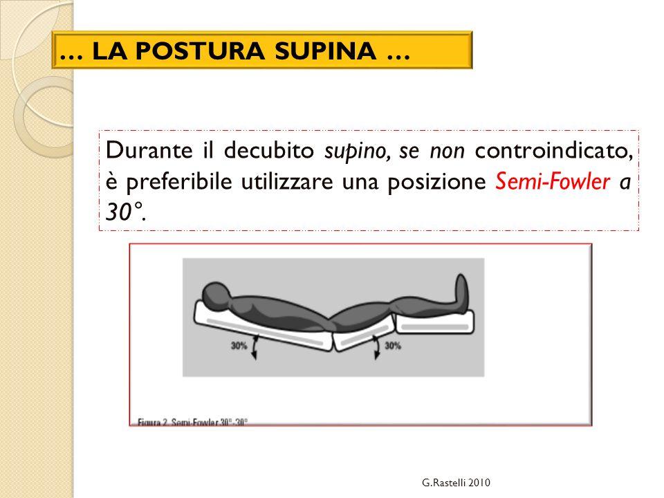 G.Rastelli 2010 … LA POSTURA SUPINA … Durante il decubito supino, se non controindicato, è preferibile utilizzare una posizione Semi-Fowler a 30°.