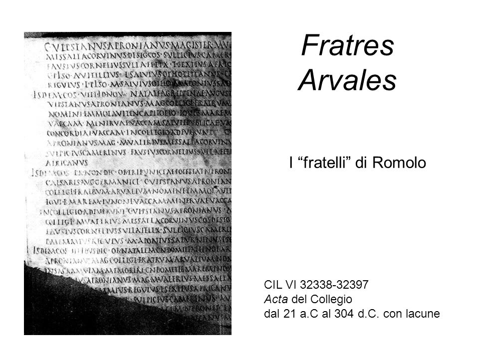 Fratres Arvales I fratelli di Romolo CIL VI 32338-32397 Acta del Collegio dal 21 a.C al 304 d.C. con lacune