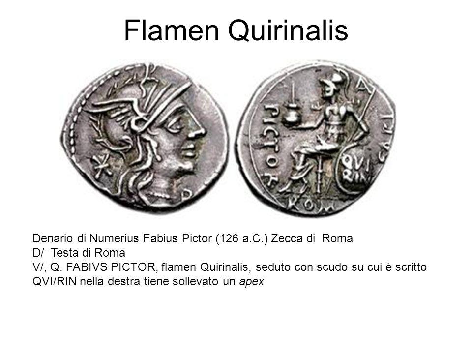 Flamen Quirinalis Denario di Numerius Fabius Pictor (126 a.C.) Zecca di Roma D/ Testa di Roma V/, Q. FABIVS PICTOR, flamen Quirinalis, seduto con scud