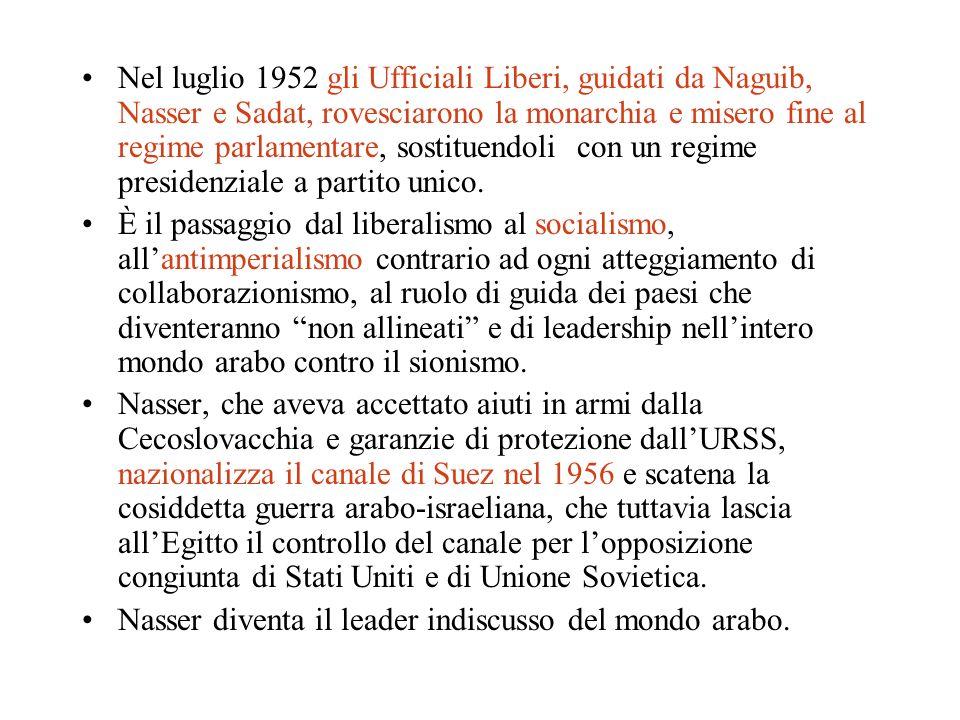 Nel luglio 1952 gli Ufficiali Liberi, guidati da Naguib, Nasser e Sadat, rovesciarono la monarchia e misero fine al regime parlamentare, sostituendoli