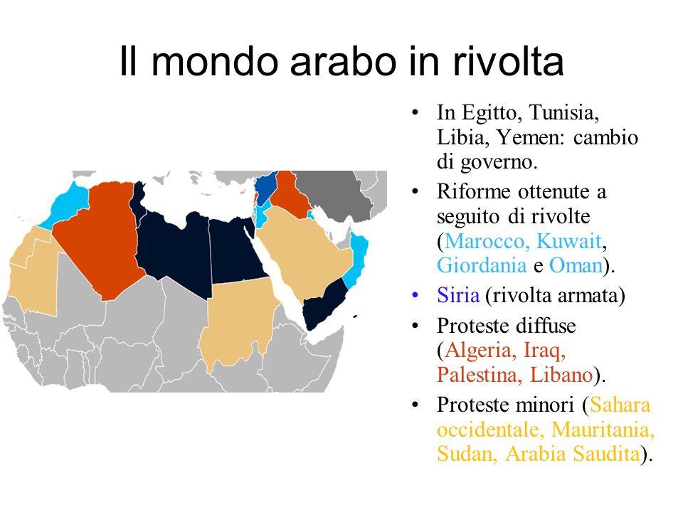 Il mondo arabo in rivolta In Egitto, Tunisia, Libia, Yemen: cambio di governo. Riforme ottenute a seguito di rivolte (Marocco, Kuwait, Giordania e Oma