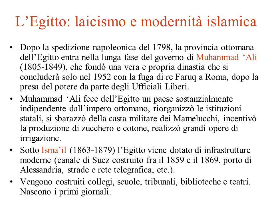LEgitto: laicismo e modernità islamica Dopo la spedizione napoleonica del 1798, la provincia ottomana dellEgitto entra nella lunga fase del governo di
