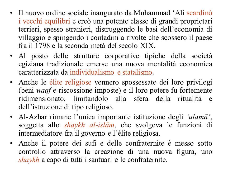 Il nuovo ordine sociale inaugurato da Muhammad Ali scardinò i vecchi equilibri e creò una potente classe di grandi proprietari terrieri, spesso strani