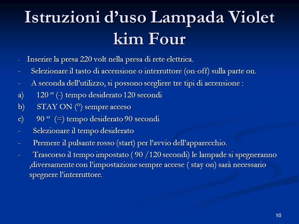 10 Istruzioni duso Lampada Violet kim Four - Inserire la presa 220 volt nella presa di rete elettrica. - Selezionare il tasto di accensione o interrut