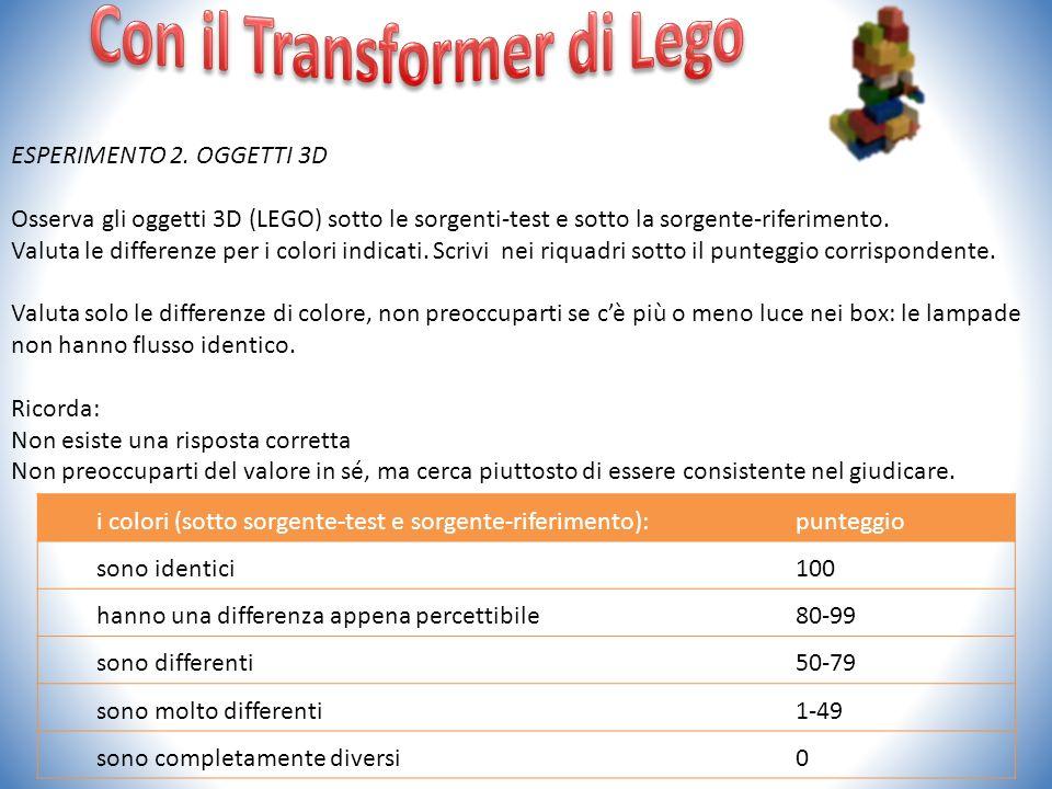 ESPERIMENTO 2. OGGETTI 3D Osserva gli oggetti 3D (LEGO) sotto le sorgenti-test e sotto la sorgente-riferimento. Valuta le differenze per i colori indi
