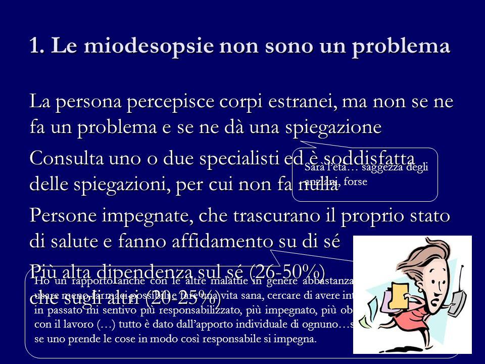 1. Le miodesopsie non sono un problema La persona percepisce corpi estranei, ma non se ne fa un problema e se ne dà una spiegazione Consulta uno o due
