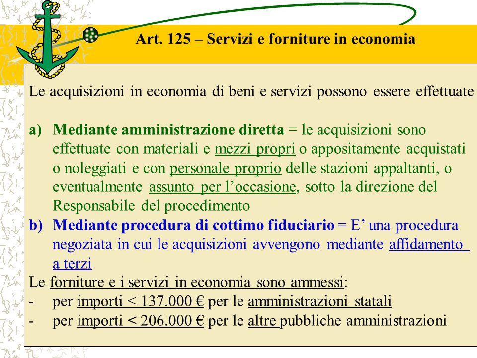 Art. 125 – Servizi e forniture in economia Le acquisizioni in economia di beni e servizi possono essere effettuate a)Mediante amministrazione diretta