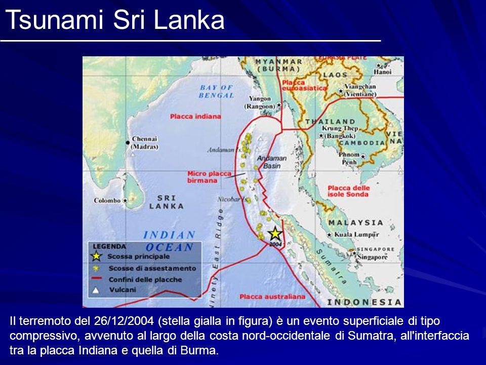 Il terremoto del 26/12/2004 (stella gialla in figura) è un evento superficiale di tipo compressivo, avvenuto al largo della costa nord-occidentale di