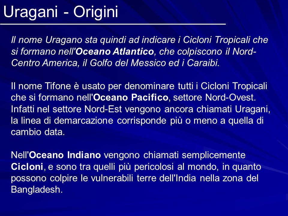 Il nome Uragano sta quindi ad indicare i Cicloni Tropicali che si formano nell'Oceano Atlantico, che colpiscono il Nord- Centro America, il Golfo del