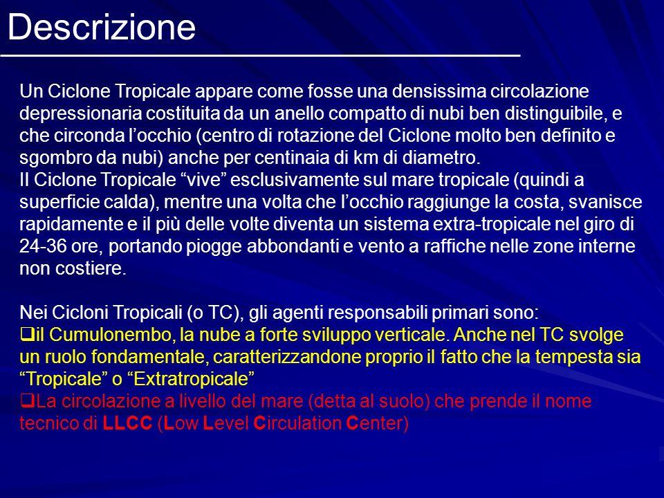 Descrizione Un Ciclone Tropicale appare come fosse una densissima circolazione depressionaria costituita da un anello compatto di nubi ben distinguibi