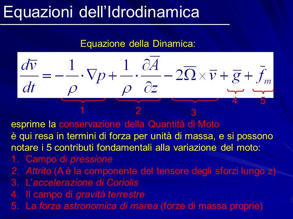 Equazioni dellIdrodinamica Equazione della Dinamica: esprime la conservazione della Quantità di Moto; è qui resa in termini di forza per unità di mass