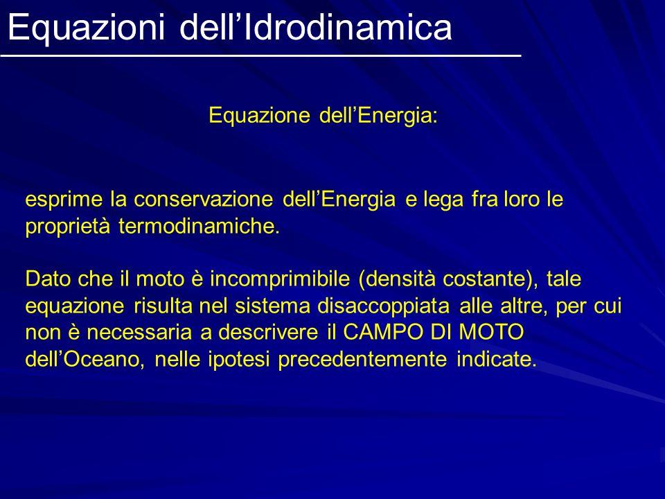 Equazioni dellIdrodinamica Equazione dellEnergia: esprime la conservazione dellEnergia e lega fra loro le proprietà termodinamiche. Dato che il moto è