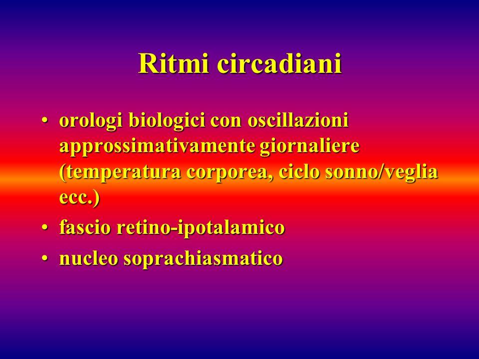 Ritmi circadiani orologi biologici con oscillazioni approssimativamente giornaliere (temperatura corporea, ciclo sonno/veglia ecc.)orologi biologici c