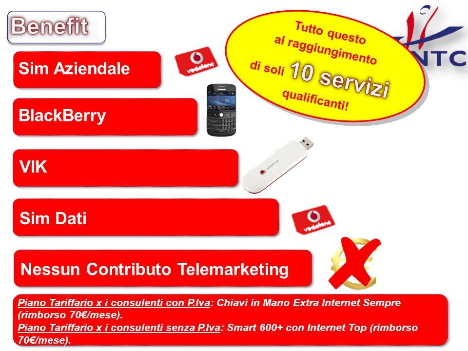 BlackBerry VIK Sim Dati Sim Aziendale Piano Tariffario x i consulenti con P.Iva: Chiavi in Mano Extra Internet Sempre (rimborso 70/mese). Piano Tariff