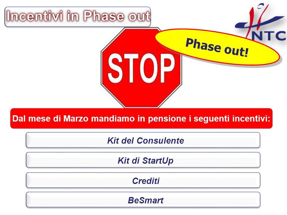 Phase out! Dal mese di Marzo mandiamo in pensione i seguenti incentivi: Kit del Consulente Kit di StartUp Crediti BeSmart