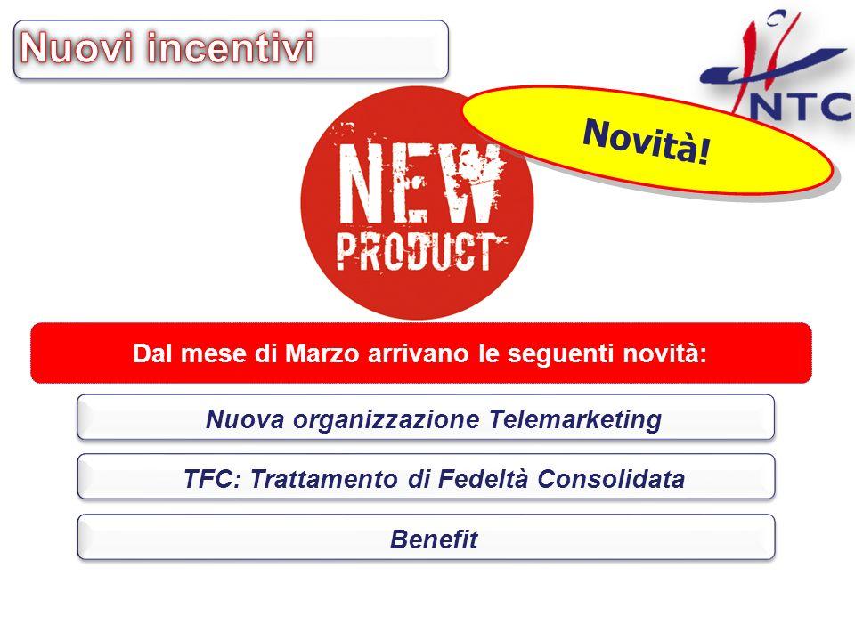 Dal mese di Marzo arrivano le seguenti novità: Nuova organizzazione Telemarketing TFC: Trattamento di Fedeltà Consolidata Benefit Novità!
