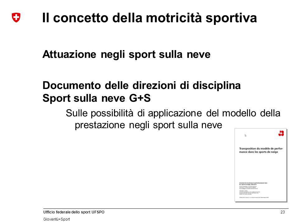 23 Ufficio federale dello sport UFSPO Gioventù+Sport Il concetto della motricità sportiva Attuazione negli sport sulla neve Documento delle direzioni