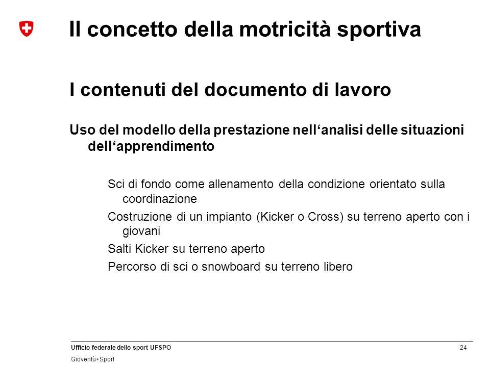 24 Ufficio federale dello sport UFSPO Gioventù+Sport Il concetto della motricità sportiva I contenuti del documento di lavoro Uso del modello della pr
