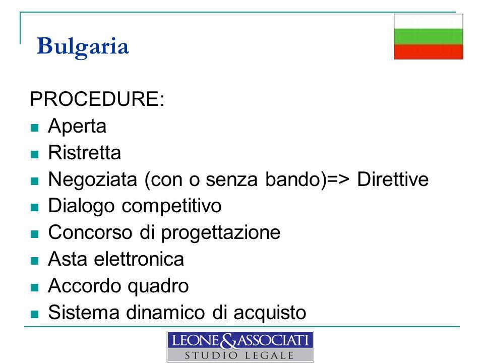 PROCEDURE: Aperta Ristretta Negoziata (con o senza bando)=> Direttive Dialogo competitivo Concorso di progettazione Asta elettronica Accordo quadro Si