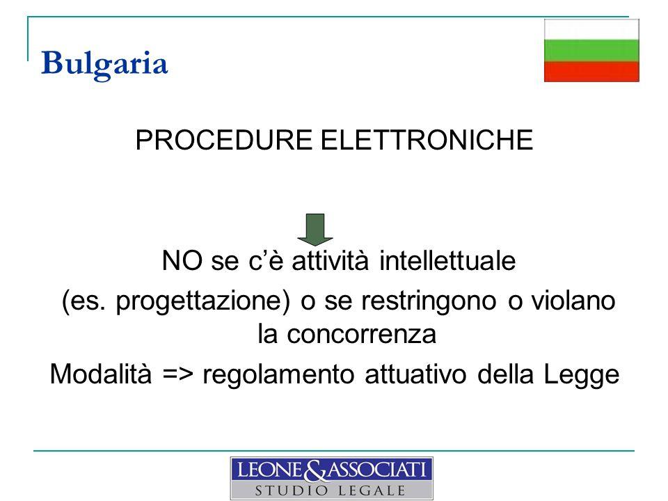 PROCEDURE ELETTRONICHE NO se cè attività intellettuale (es. progettazione) o se restringono o violano la concorrenza Modalità => regolamento attuativo
