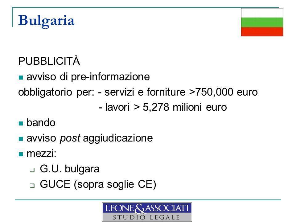 PUBBLICITÀ avviso di pre-informazione obbligatorio per: - servizi e forniture >750,000 euro - lavori > 5,278 milioni euro bando avviso post aggiudicaz