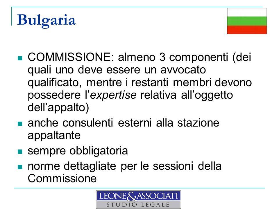 Bulgaria COMMISSIONE: almeno 3 componenti (dei quali uno deve essere un avvocato qualificato, mentre i restanti membri devono possedere lexpertise rel