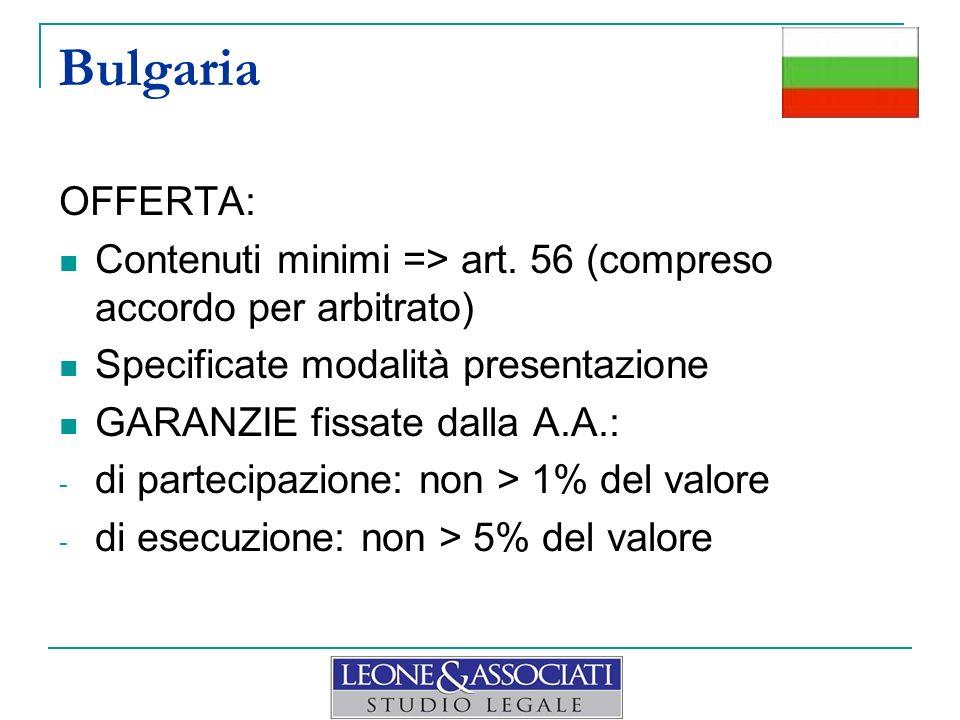 Bulgaria OFFERTA: Contenuti minimi => art. 56 (compreso accordo per arbitrato) Specificate modalità presentazione GARANZIE fissate dalla A.A.: - di pa