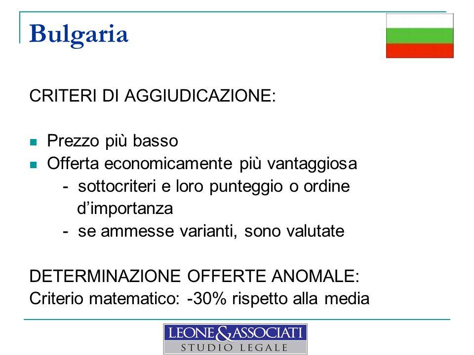 Bulgaria CRITERI DI AGGIUDICAZIONE: Prezzo più basso Offerta economicamente più vantaggiosa - sottocriteri e loro punteggio o ordine dimportanza - se