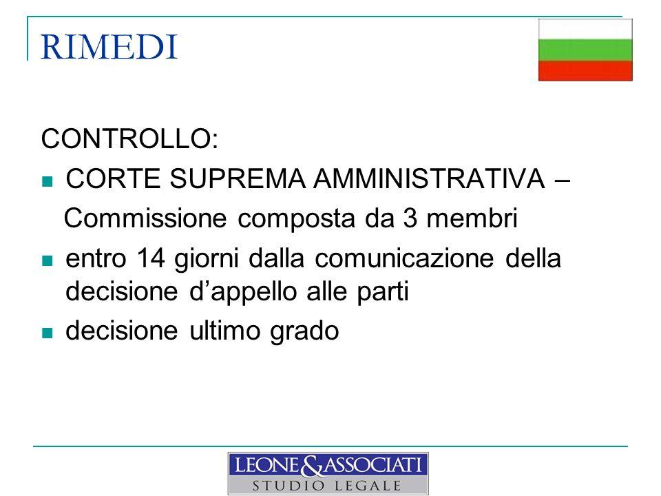 RIMEDI CONTROLLO: CORTE SUPREMA AMMINISTRATIVA – Commissione composta da 3 membri entro 14 giorni dalla comunicazione della decisione dappello alle pa