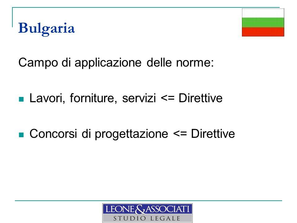Campo di applicazione delle norme: Lavori, forniture, servizi <= Direttive Concorsi di progettazione <= Direttive Bulgaria