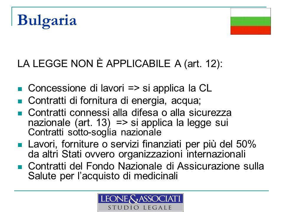 LA LEGGE NON È APPLICABILE A (art. 12): Concessione di lavori => si applica la CL Contratti di fornitura di energia, acqua; Contratti connessi alla di