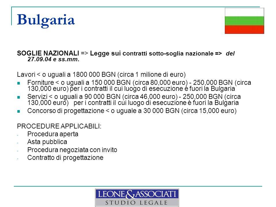 Bulgaria SOGLIE NAZIONALI => Legge sui c ontratti sotto-soglia nazionale => del 27.09.04 e ss.mm. Lavori < o uguali a 1800 000 BGN (circa 1 milione di