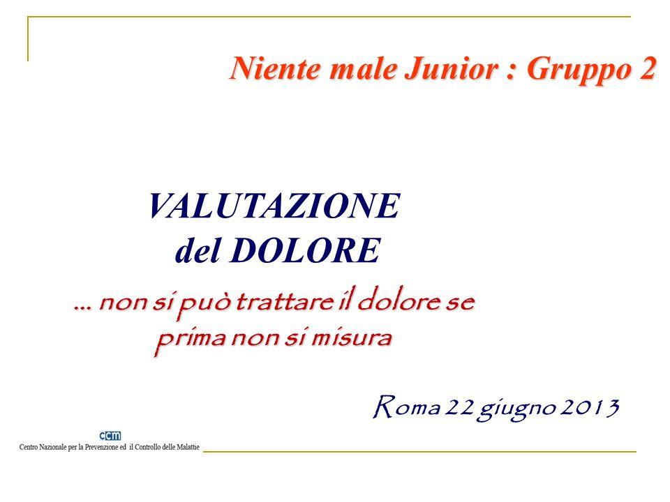 VALUTAZIONE del DOLORE … non si può trattare il dolore se prima non si misura Niente male Junior : Gruppo 2 Roma 22 giugno 2013