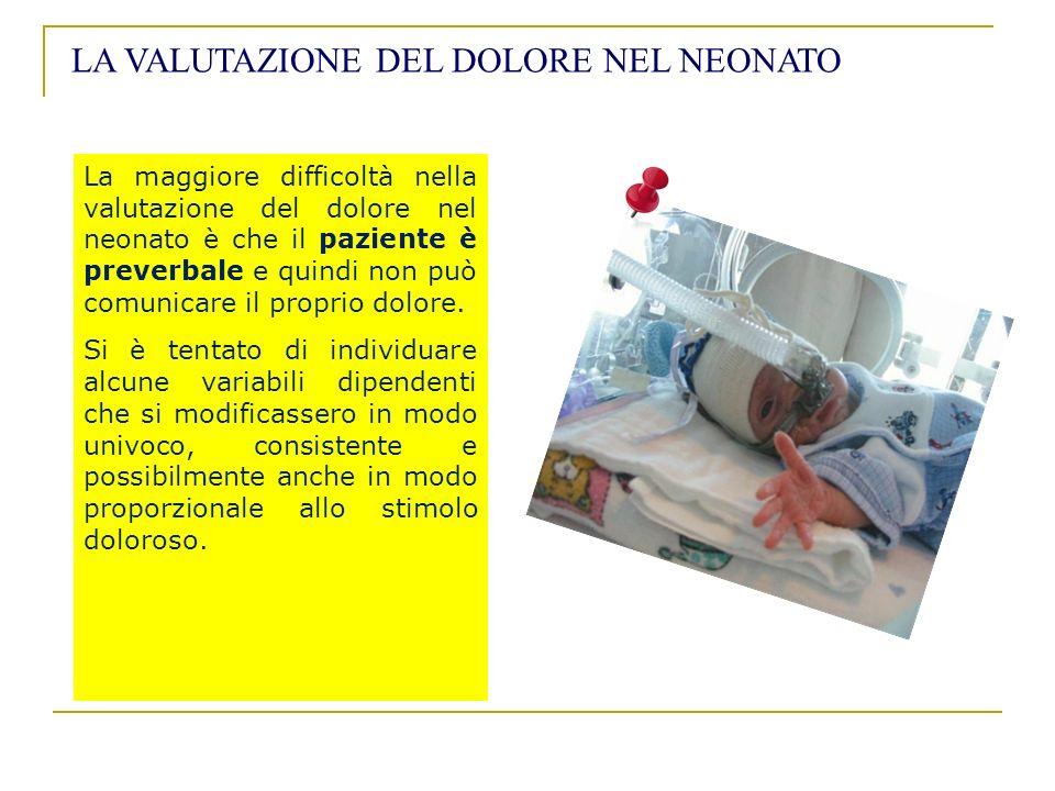 La maggiore difficoltà nella valutazione del dolore nel neonato è che il paziente è preverbale e quindi non può comunicare il proprio dolore. Si è ten