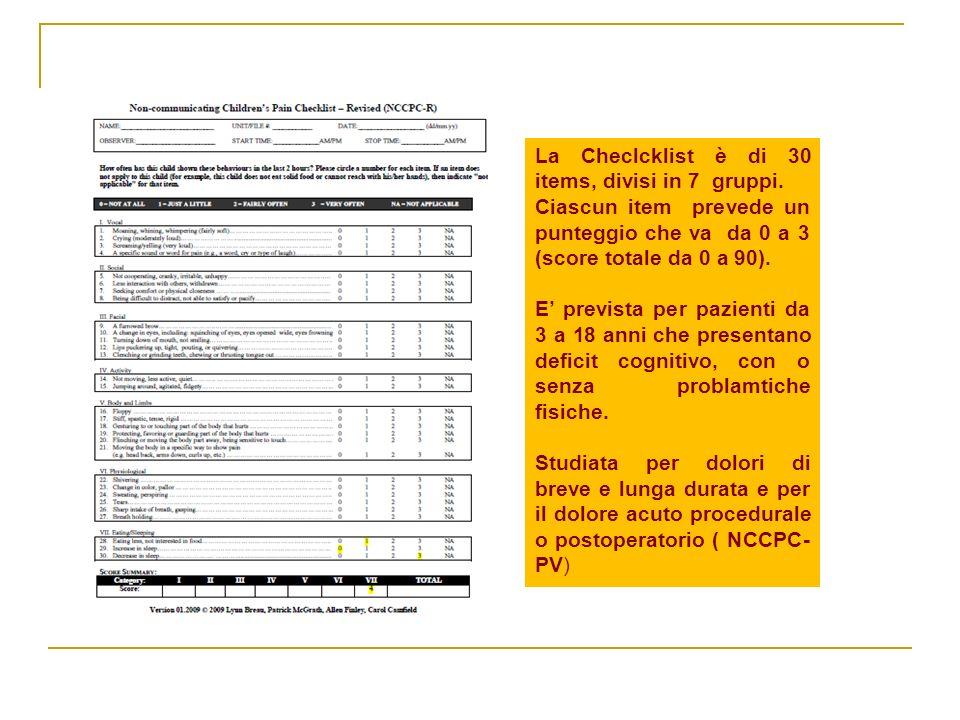 La Checlcklist è di 30 items, divisi in 7 gruppi. Ciascun item prevede un punteggio che va da 0 a 3 (score totale da 0 a 90). E prevista per pazienti