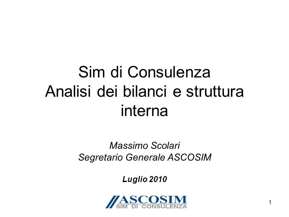 1 Sim di Consulenza Analisi dei bilanci e struttura interna Massimo Scolari Segretario Generale ASCOSIM Luglio 2010