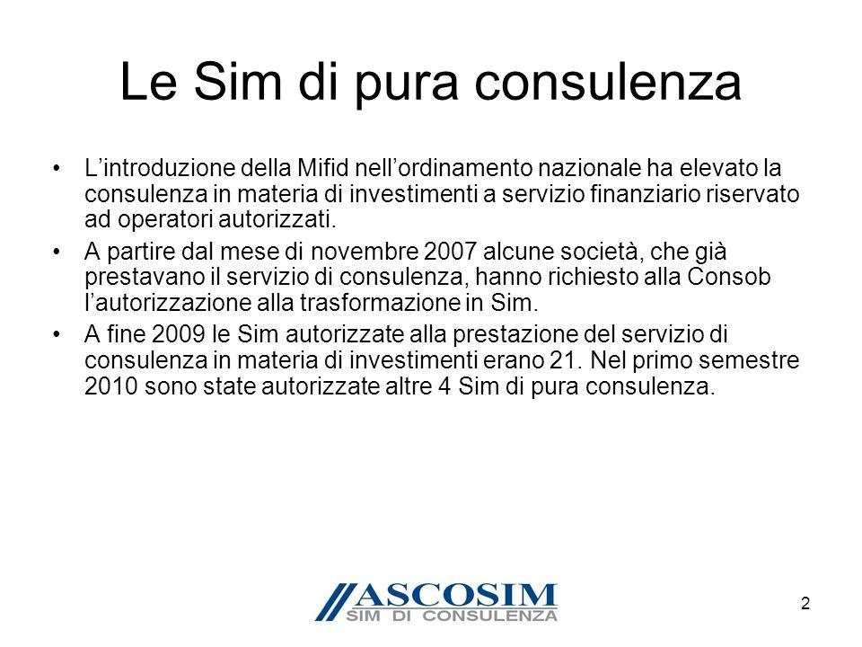 2 Le Sim di pura consulenza Lintroduzione della Mifid nellordinamento nazionale ha elevato la consulenza in materia di investimenti a servizio finanziario riservato ad operatori autorizzati.