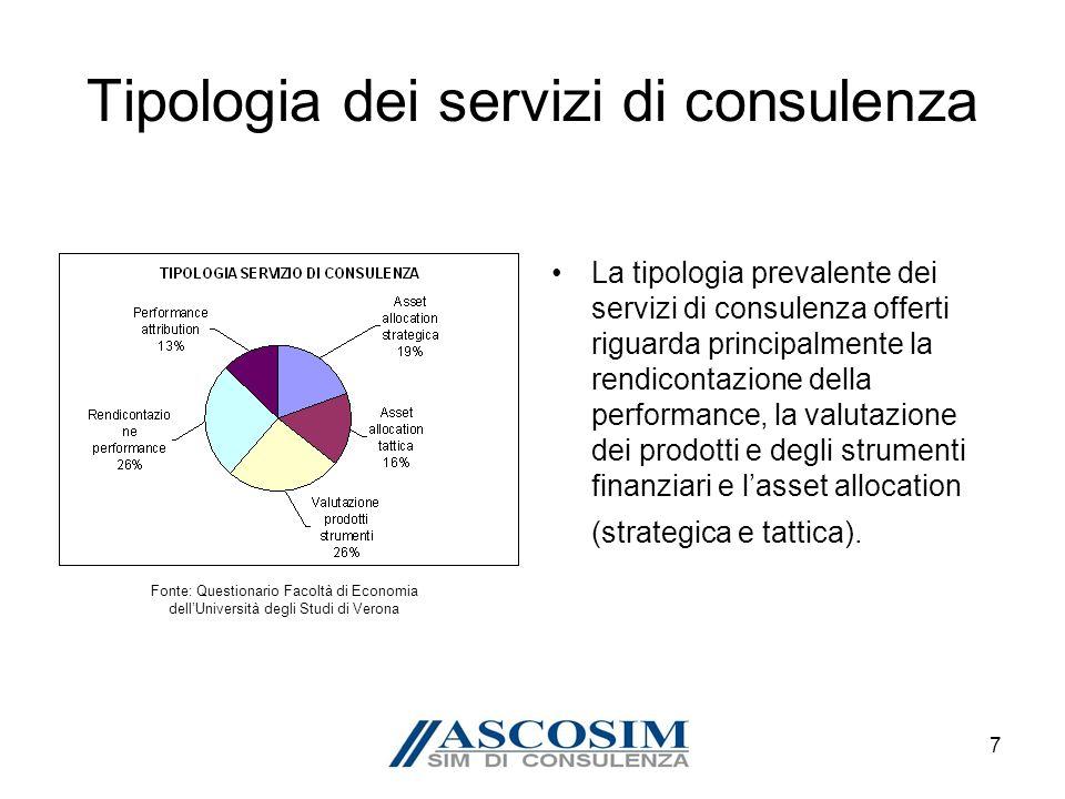 7 Tipologia dei servizi di consulenza La tipologia prevalente dei servizi di consulenza offerti riguarda principalmente la rendicontazione della performance, la valutazione dei prodotti e degli strumenti finanziari e lasset allocation (strategica e tattica).