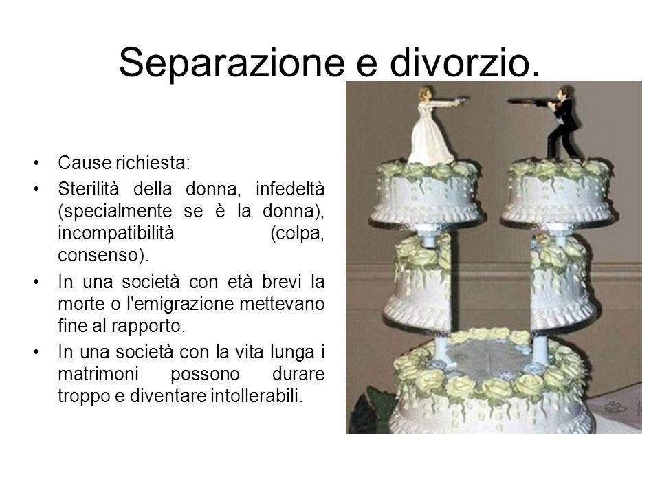 Separazione e divorzio. Cause richiesta: Sterilità della donna, infedeltà (specialmente se è la donna), incompatibilità (colpa, consenso). In una soci