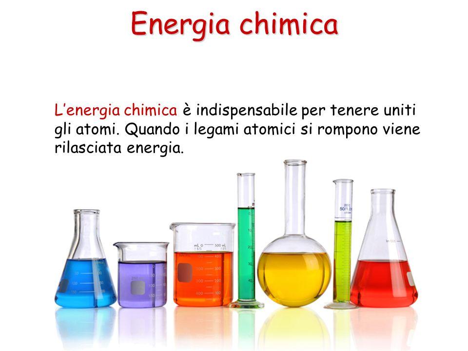 Lenergia chimica è indispensabile per tenere uniti gli atomi. Quando i legami atomici si rompono viene rilasciata energia. Energia chimica