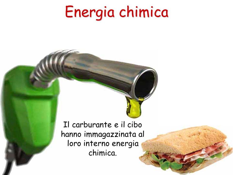 Il carburante e il cibo hanno immagazzinata al loro interno energia chimica. Energia chimica