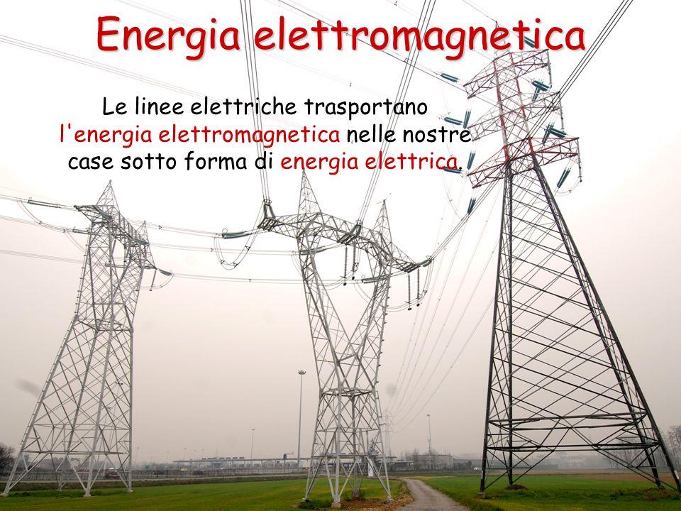 Le linee elettriche trasportano l'energia elettromagnetica nelle nostre case sotto forma di energia elettrica. Energia elettromagnetica