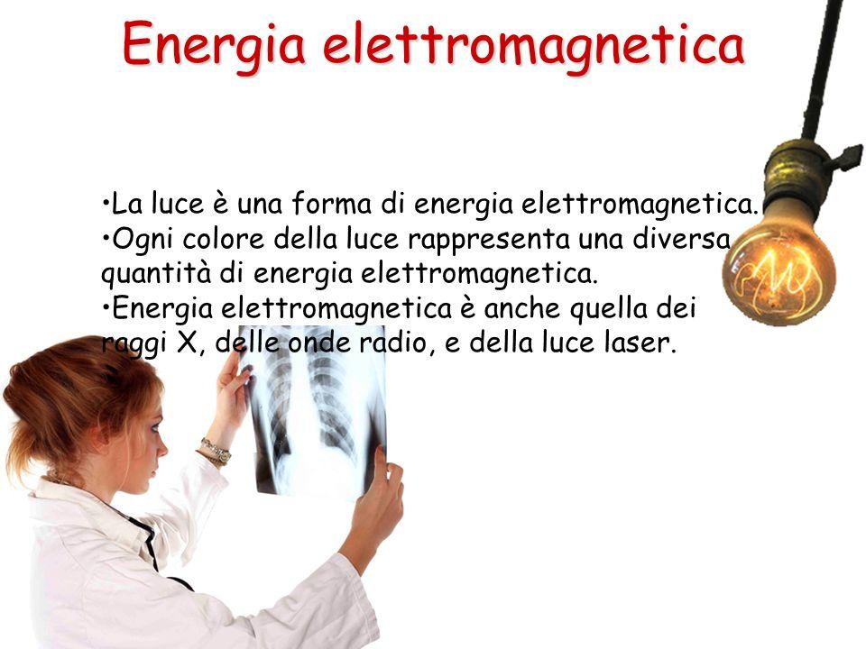 La luce è una forma di energia elettromagnetica. Ogni colore della luce rappresenta una diversa quantità di energia elettromagnetica. Energia elettrom